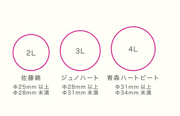 ジュノハートのサイズ比較